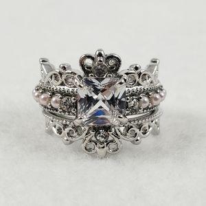 (2pc) Princess Cut Pearl Ring Set